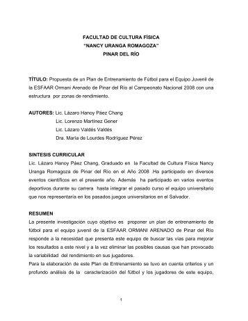 """FACULTAD DE CULTURA FÍSICA """"NANCY URANGA ... - GDeportes"""