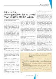 Blick zurück… Die Organisation der 30. GV des VSVT im Jahre 1960 ...