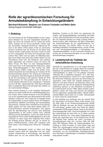 Rolle der agrarökonomischen Forschung für Armutsbekämpfung in ...