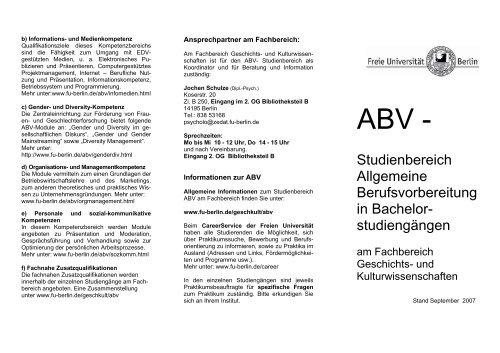 ABV - - Fachbereich Geschichts