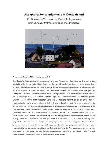 Akzeptanz der Windenergie in Deutschland Konflikte um die ...