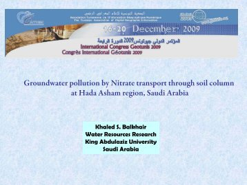 Groundwater pollution by Nitrate transport through soil column at ...