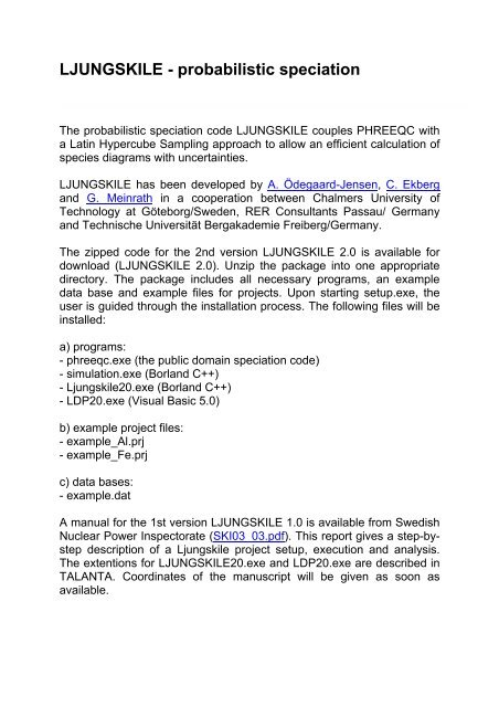 LJUNGSKILE - probabilistic speciation