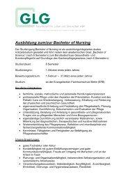Ausbildung zum/zur Bachelor of Nursing - GLG Gesellschaft für ...