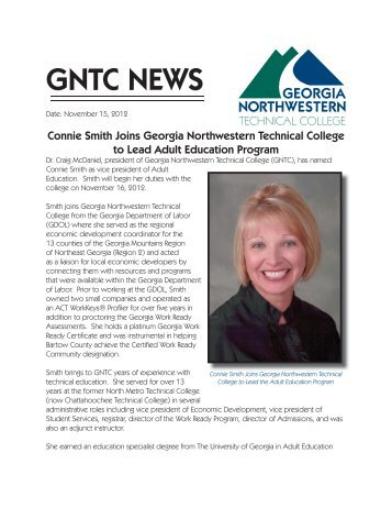 Connie Smith Joins GNTC to Lead the Adult Education Program
