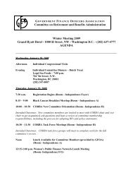 Meeting Agenda, January 2009 - Government Finance Officers ...