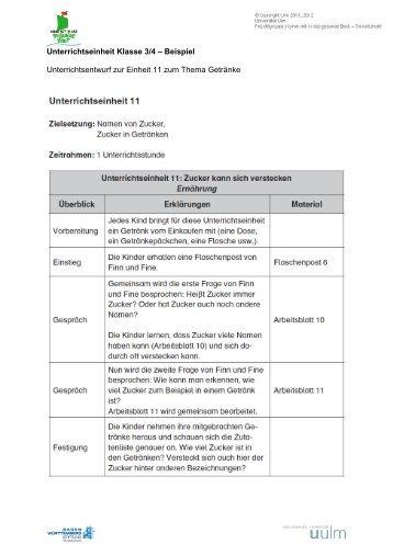 Unterrichtseinheit Klasse 3/4 – Beispiel Unterrichtsentwurf zur ...