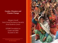 Gender and vulnerability to disasters - GFDRR