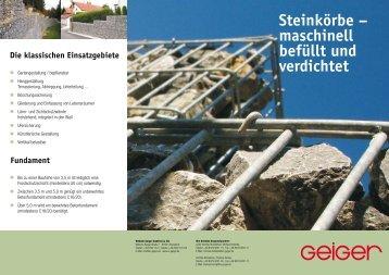 Steinkörbe – maschinell befüllt und verdichtet - Geiger