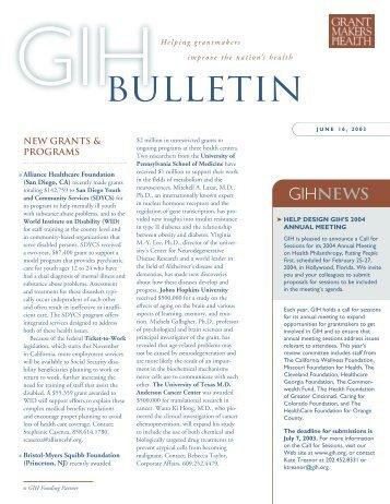 GIH 6/16.qxd - Grantmakers In Health