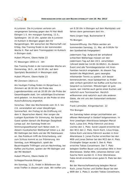 Vereinsnachrichten 100513 - Gemeinde Bisingen