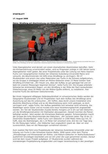Presseschau - Windfang zur Gletscherkühlung. August 2008.