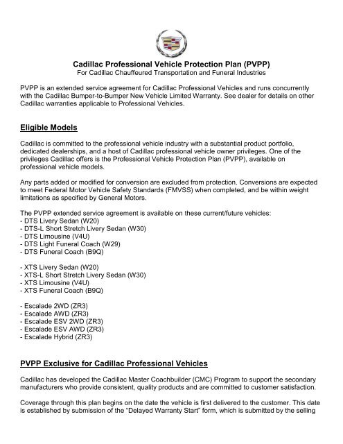 Cadillac Professional Vehicle Protection Plan (PDF) - GM Fleet