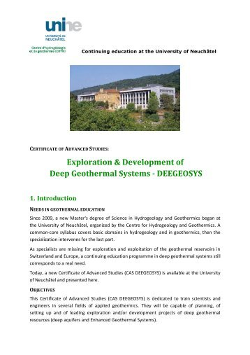 Exploration & Development of Deep Geothermal ... - Geothermie