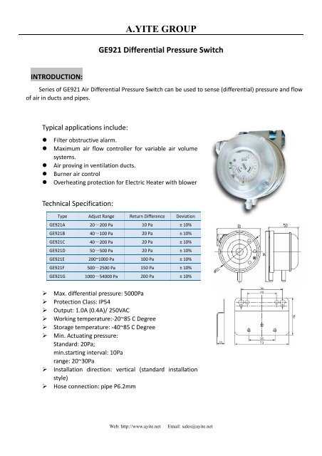 adjustable air differential pressure switch rh yumpu com