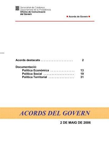 ACORDS DEL GOVERN - Generalitat de Catalunya