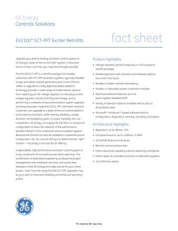 EX2100 Exciter Retrofits Fact Sheet / PDF 527kb - GE Energy