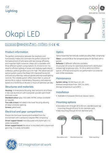 Okapi LED Outdoor Luminaires - Data sheet - GE Lighting