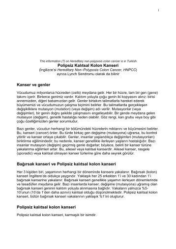 Polipsiz Kalıtsal Kolon Kanseri - Genetic Alliance UK