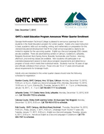 GNTC's Adult Education Program Announces Winter Quarter ...