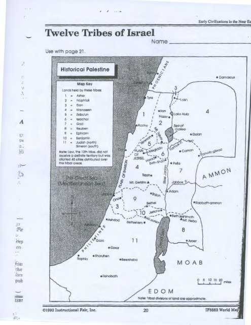 Map: 12 Tribes of Israel  Tribes Of Israel Map on