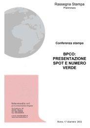 BPCO: PRESENTAZIONE SPOT E NUMERO VERDE - GOLD