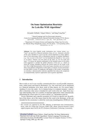 On Some Optimization Heuristics for Lesk-like WSD Algorithms*