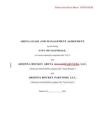 arena lease and management agreement city of glendale, arizona ...