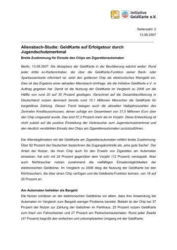Allensbach-Studie: GeldKarte auf Erfolgstour durch ...
