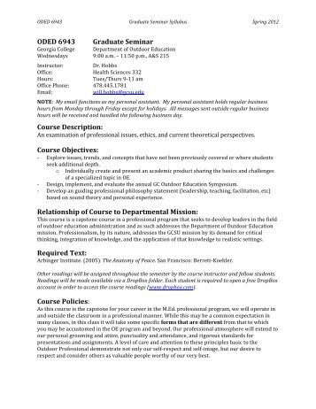 ODED 6943 Graduate Seminar Course Description - Georgia ...