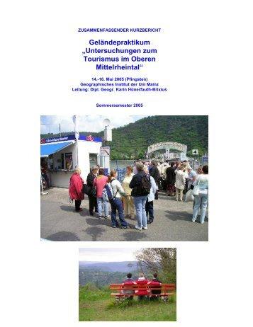 Kurzbericht des Praktikums... - Geographisches Institut