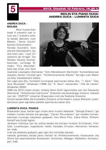 BIOLIN ETA PIANO DUOA: ANDREA DUCA – LUMINITA ... - Getxo