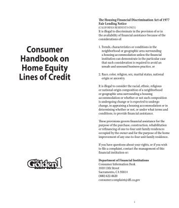 Consumer Handbook on Home Equity Lines of Credit