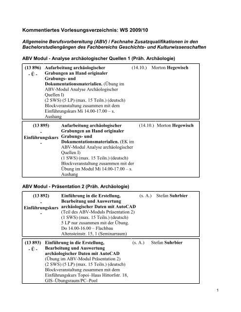 Kommentiertes Vorlesungsverzeichnis WS0910 - Fachbereich ...