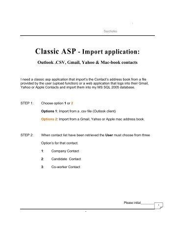 Classic ASP - Import application: - GetACoder