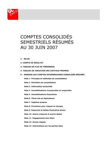 Comptes semestriels 2008 - GL events