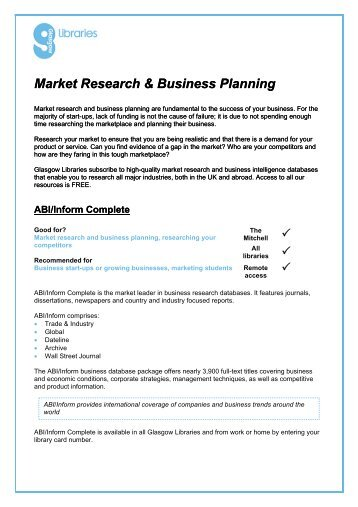 Market Research Online Resources - Glasgow Life