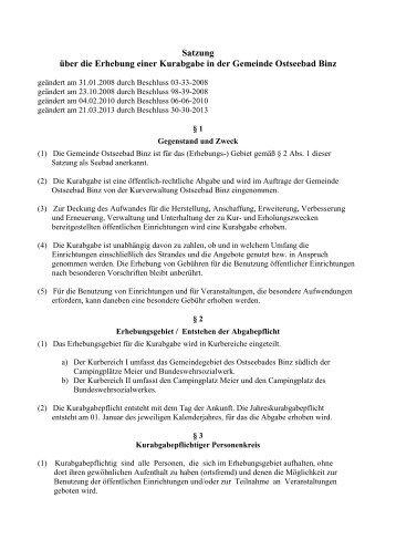 Satzung über die Erhebung einer Kurabgabe in ... - Gemeinde Binz