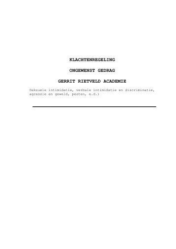 Klachtenregeling - Gerrit Rietveld Academie