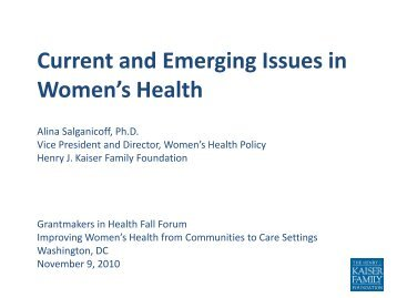 Current and Emerging Issues in Women's Health - Grantmakers In ...