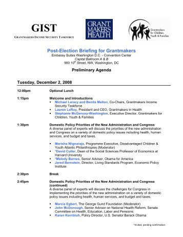 Post-Election Briefing for Grantmakers - Grantmakers In Health