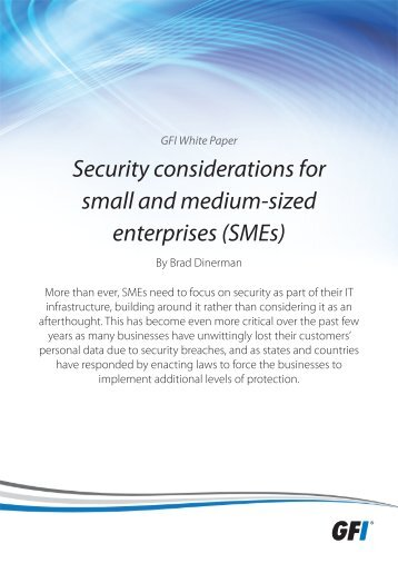 Security considerations for small and medium-sized ... - GFI.com