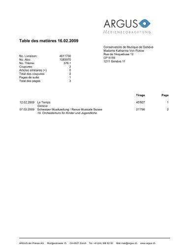 Table des matières 16.02.2009 - Conservatoire de Musique de ...