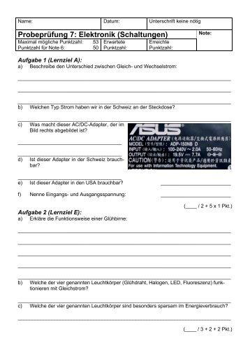 Probeprüfung 7: Elektronik (Schaltungen) - Gegenschatz.net