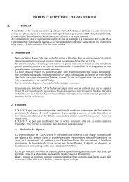 PROJETS ET ACTIVITES DE L'ADASTA POUR 2010