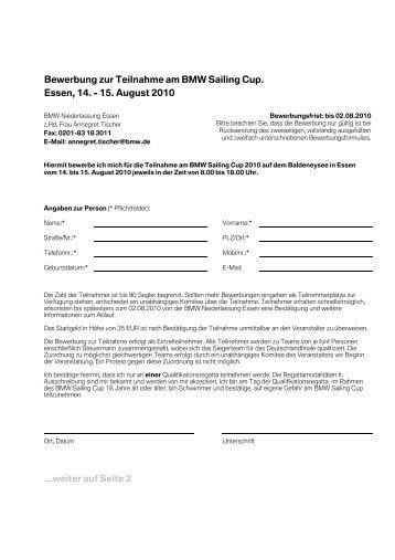 Bewerbung Zur Teilnahme Am Bmw Sailing Cup Essen 17 Bis