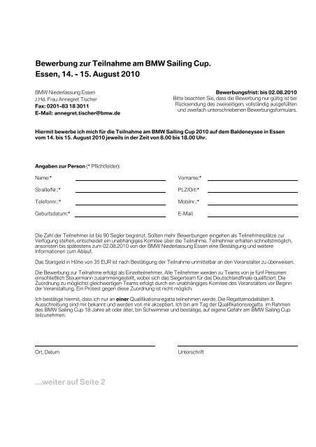 Bewerbung Zur Teilnahme Am Bmw Sailing Cup Essen 14 15