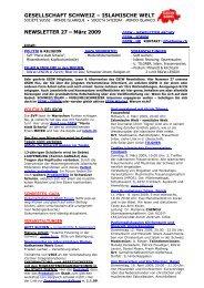 NEWSLETTER 27 – März 2009 - GSIW