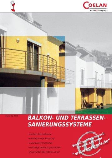 """Prospekt """"COELAN ® Balkon- und Terrassensanierungssysteme"""""""