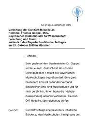 Verleihung der Carl-Orff-Medaille an Herrn Dr. Thomas Goppel, MdL ...